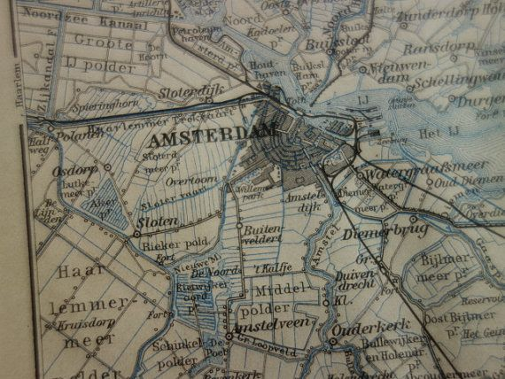AMSTERDAM old map of Amsterdam Holland 1910 by VintageOldMaps