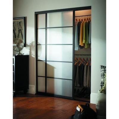 Contractors Wardrobe 72 In. X 81 In. Silhouette 5 Lite Aluminum Bronze  Finish Interior Bypass Sliding Door