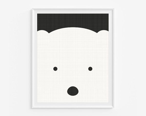 Polar bear nursery giclee print- Black and white kids room decor- Wall art for children- (A-315)