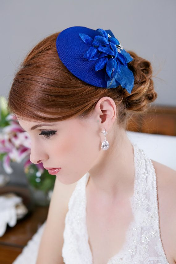 Royal Blue Bridal Mini Hat, Sapphire Blue Wedding Headpiece, Bridal Fascinator, Bridesmaid Hair PIece, Mother of the Bride hat, STYLE 140 on Etsy, $110.00