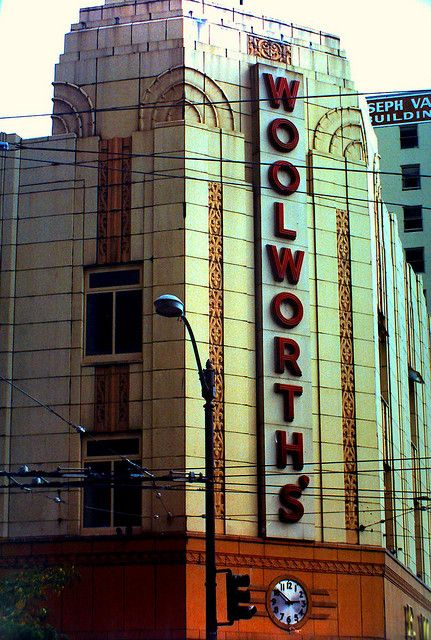 """Seattle Woolworth Building.  We loved shopping at Woolworths (we called it the """"dime store"""" when we were kids...wood floors, all the items for sale were in divided bins (no bubble packs like today).  It always smelled like fresh popcorn.  Sometimes we'd eat lunch at the lunch counter."""