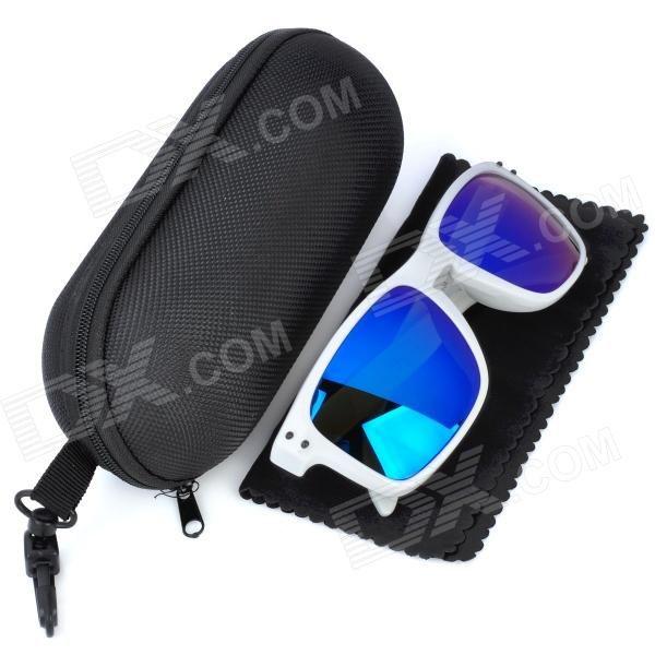 OREKA UV 400 Protection Fashion Resin Lens Polarized Sunglasses - White + Blue