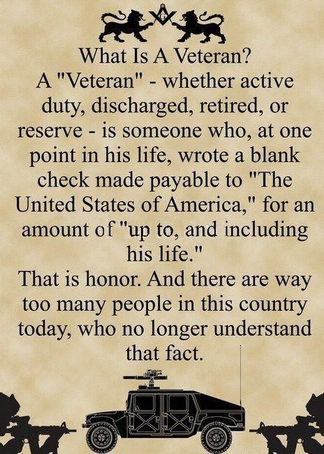 So very thankful for all our Veterans and all of our  active Military Men and Women. Because they offer thier life, we are FREE to live ours!!! Thank you!!!
