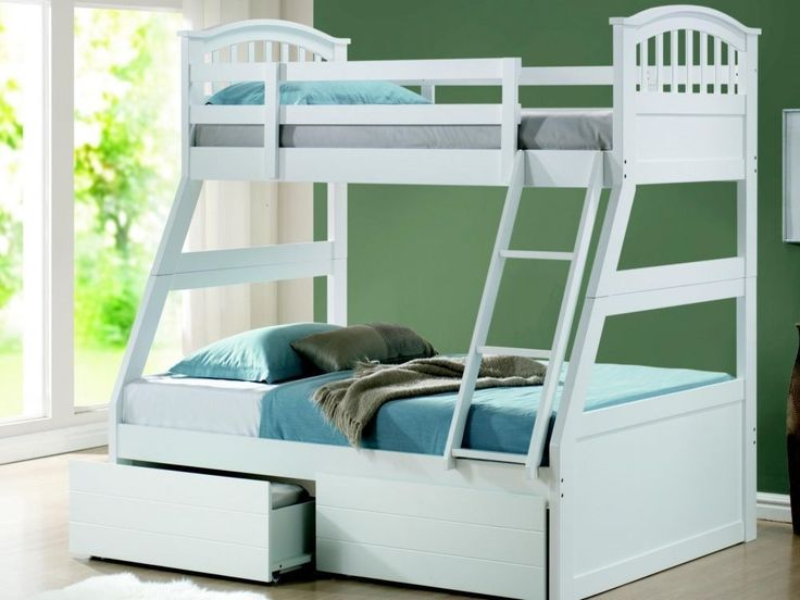 3 Sleeper Bunk Bed/ Triple Sleeper Bunk Bed + Drawers White (Free Delivery)