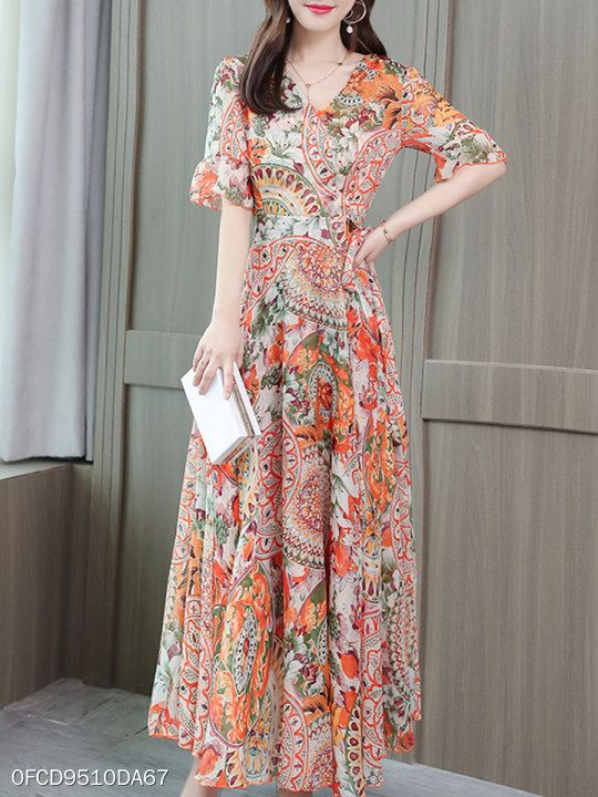 d3e96023f1 V Neck Floral Printed Maxi Dress  fashion  styles  clothes  fashionista   shopping