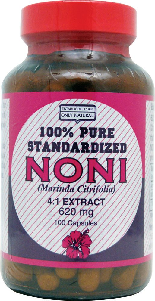 Only Natural Pure Standardized Noni -- 620 mg - 100 Capsules ... This stuff is fantastic! I was introduced to how this could better my health. At first I didn't believe my uncle when they he me. But I enjoyed some and holy cow was I ever shocked! First this noni product tasted great, and secondly it performed! I felt better within a couple of days, and since then I have not been ill. I've been loving this noni juice now for 5 years and have not had the symptoms of a cold or flu in that…