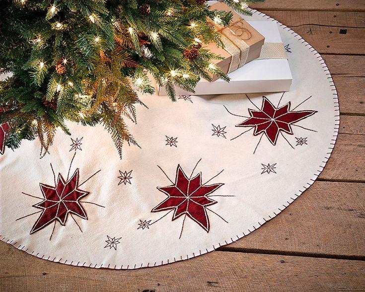 48 north star christmas tree skirt embroidered wine red stars and snowflakes - Mini Christmas Tree Skirt