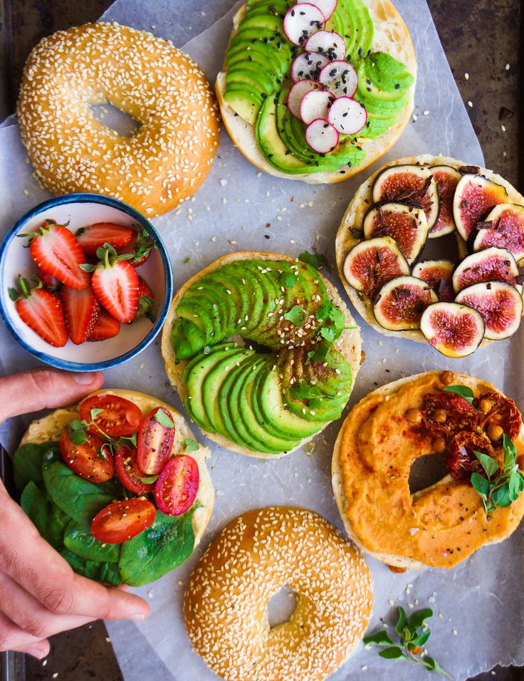 "The concept of a ""Bagel Party"" is simple: Grab all the bagels, cut 'em up, and put all the toppings on 'em"
