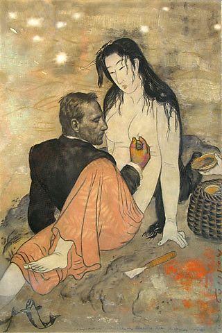 Svein Bolling <em>Med Abalonedykker, etter Kitagawa Utamaro</em><br />pastell, 160x108 cm