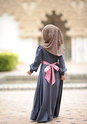 Black Red Little muslimah Long Sleeve Maxi Dress Small Girl Abaya Islam Hijab | eBay
