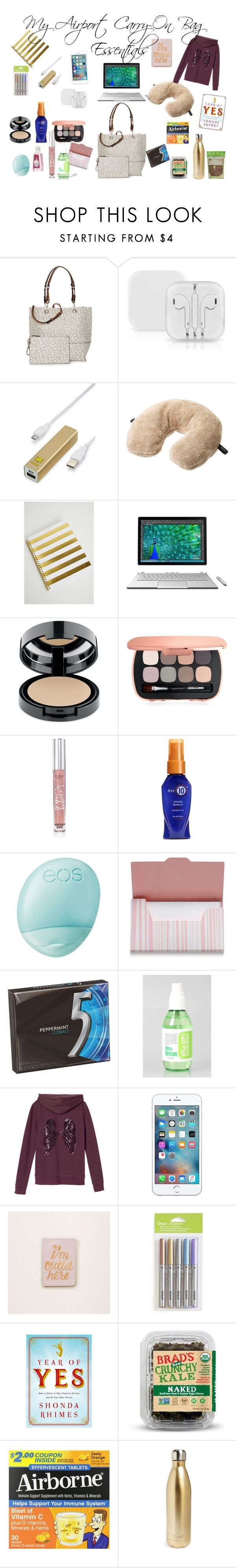 """My Airport Carry-On Bag Essentials"" by marahenry on Polyvore featuring Calvin Klein, LMNT, Go Travel, Forever 21, Microsoft, Bare Escentuals, Victoria's Secret, Eos, Shiseido and Holika Holika"