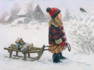 Зима. Robert Duncan. Картинки для декупажа. Часть 2. Зимние игры в сельской местности.