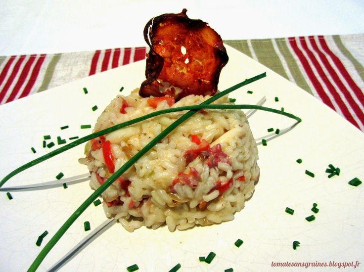 Risotto poivron-chorizo-calamar et sa chips de chorizo