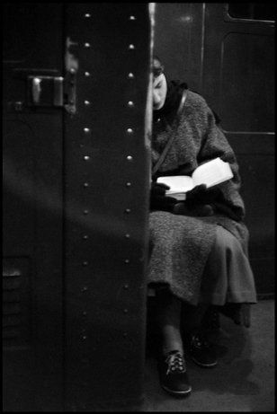 A woman reading on the subway, NYC, 1957.  Inge Morath, The Inge Morath Foundation / Magnum Photos