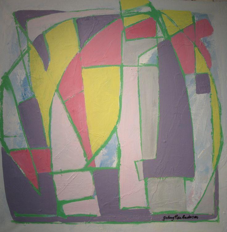Maleri Norway Sommer 80x80 cm