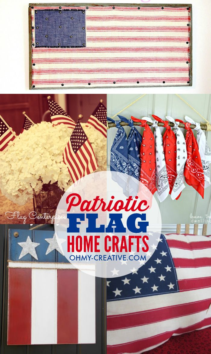 Show your patriotic spirt at home with a few of these awesome Patriotic Flag Crafts! Not only are the decorative for the 4th of July enjoy them all summer long - love the Red, White and Blue     OHMY-CREATIVE.COM