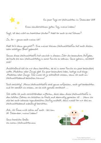 Adventskalender 2014: Humorvoll und originell - kostenloser Weihnachtsmannbrief für Kinder! (PDF-Download)