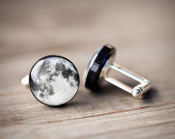 Full moon cufflinks Man cuff links C027 by BeautySpot on Etsy