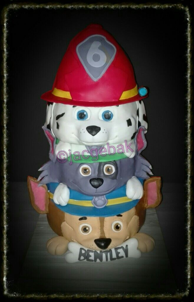 Paw Patrol cake, Marshall, Rocky and chase