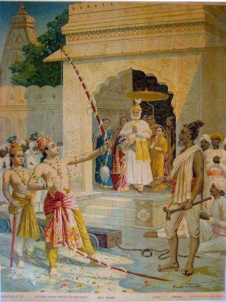 File:Rama breaking the bow to win Sita as wife.jpg