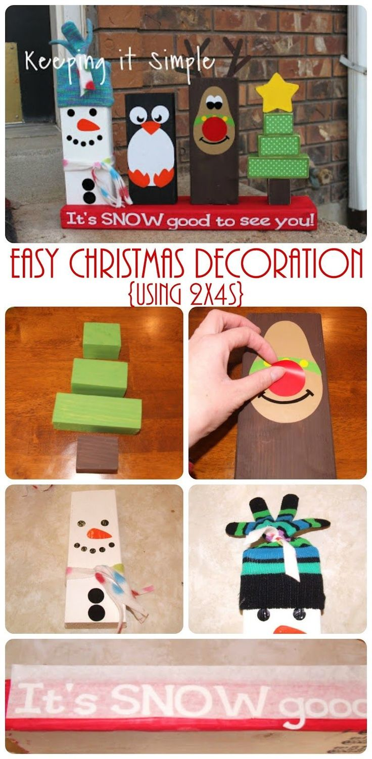 Easy Christmas Decoration using 2x4s, paint and vinyl.