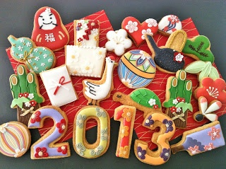 japanese new year motif sugar cookies