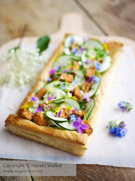 Springtime Zucchini Tart with Edible Flower Garnish