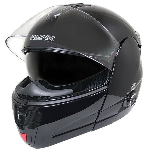 Hawk H-6607 Gloss Black Dual-Visor Modular Motorcycle Helmet w/ Blinc Bluetooth #HAWK #Motorcycle