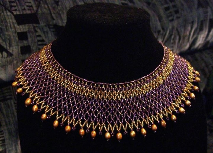 Gold and purple glass with a dyed freshwater pearl border.    www.facebook.com/teristreasures