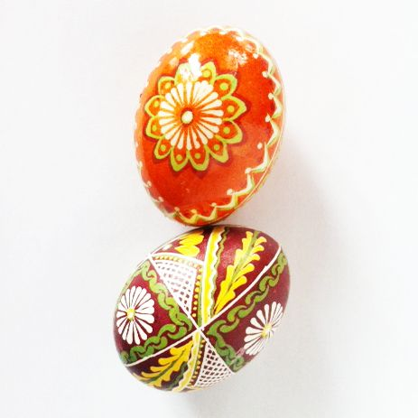 Pisanki - eggs from Podlasie in Poland. Method of decoration - batik.