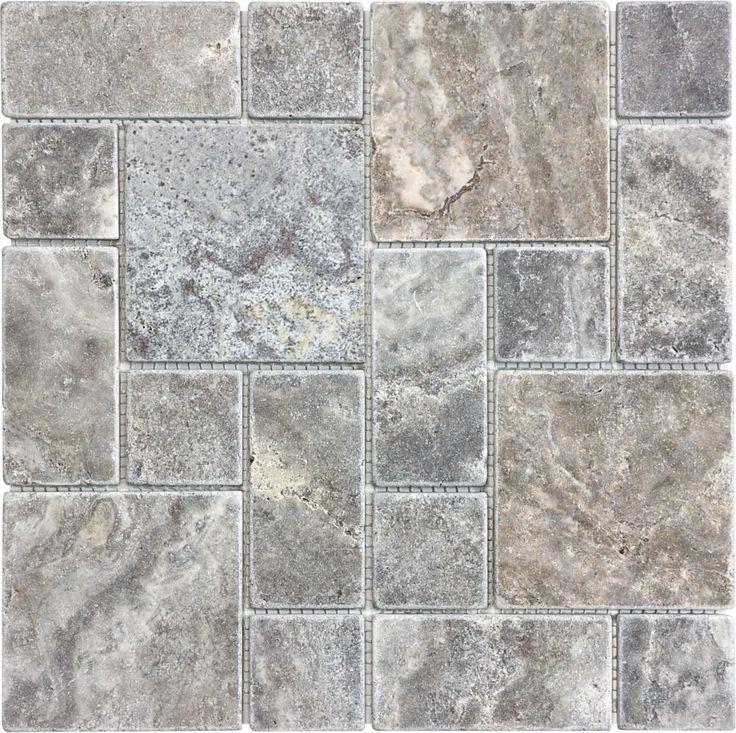 Silver Grey Tuscan Pattern Tumbled Mosaics Travertine