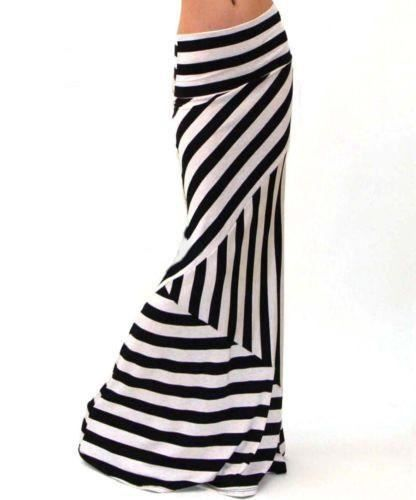 Striped Printed Spandex Fabric Casual Floor Length Skirt For Women