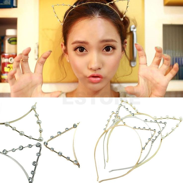 Fashion Women Girls Cat Ears Pearl Rhinestone Alloy Headband Hair Band Cute Hot Free shipping-in Hair Accessories from Women's Clothing & Accessories on Aliexpress.com | Alibaba Group