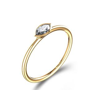 Bezel Set Marquise-Cut Diamond Ring in 18k Yellow Gold