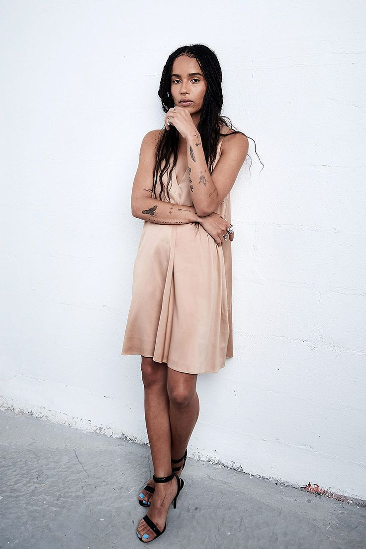 Zoe Kravitz in slip dress & sandals