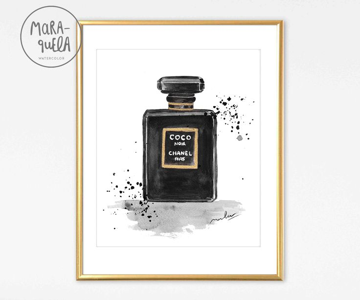 COCO Chanel Parfum BLACK bottle ORIGINAL watercolor handmade. Coco Noir Chanel Paris Black perfume, Style Modern art wall.Fashion Decor Mode. Coco Noir Chanel Paris Acuarela original inspirada perfume Coco Chanel negro. Pintura decoracion moda fashion estilo moderno glamour dorado by MARAQUELA