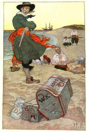 This has endured as one of Howard Pyle's most famous pirate images. It was the last illustration in this piece that appeared in Harper's New Monthly Magazine for December 1902.