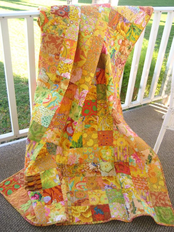 Patchwork Quilt Throw Size Blanket Kaffe Fassett by PeppersAttic, $245.00