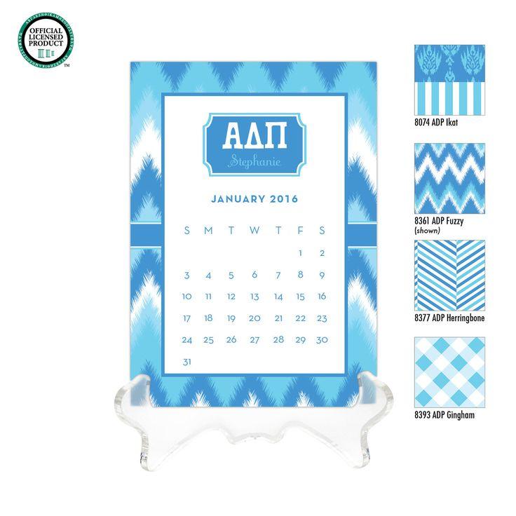 Alpha Delta Pi Personalized Desk Calendar / 2016 Calendar / Personalized Calendar / Monogrammed Calendar / ADPi Sorority Gift / Bid Day Gift by DetailsandPaper on Etsy
