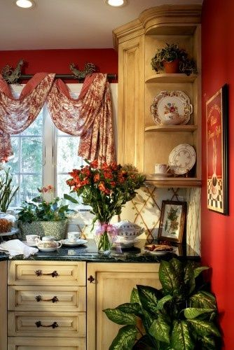 Karla Trincanello, NJ CID, ASID Allied traditional kitchen: Decor Ideas, Traditional Kitchens, Red Wall, Curtains Rods, Kitchens Ideas, French Country, Window Treatments, Country Kitchens, Corner Shelves
