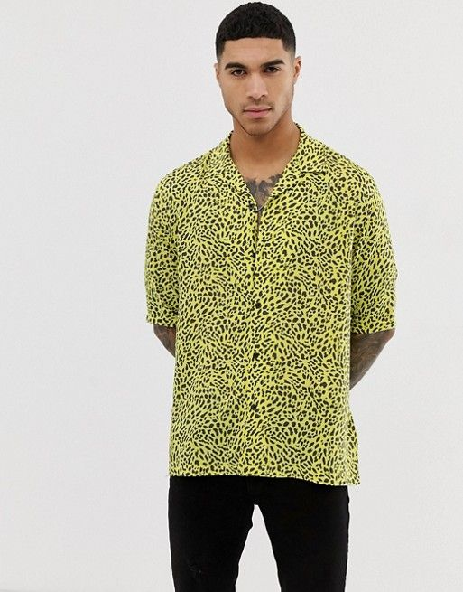 e21b90fcaeae DESIGN Festival relaxed animal print shirt in yellow in 2019 | Asos ...