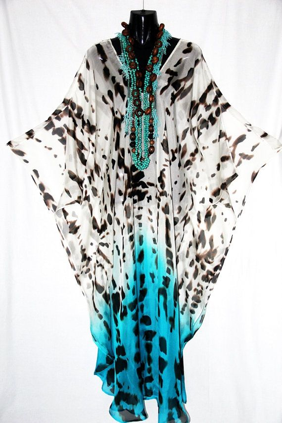 Full Length Animal Print Hombre 100 Silk Kaftan by by MollyKaftans, $169.00