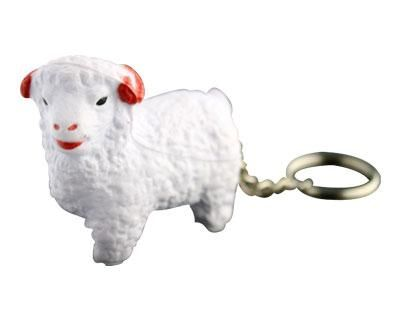 STRESS SHEEP KEYRING – S84  Price includes 1 color, 1 position print   2 Color imprint available for an additional charge  Decoration option: Pad print  Printing Size: Side 15mm x 10 mm, Back 8mm x 13 mm  Product Size: 59mm x 46mm x 23 mm