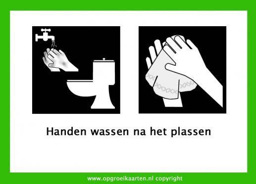 zindelijkheidstraining, handen wassen na het plassen