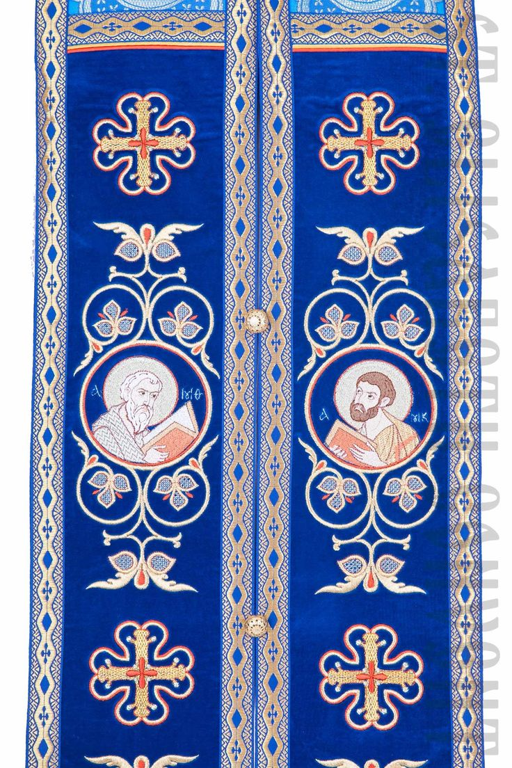 Embroidered epitrachelion, Epitrachelion, Embroidered phelonion, Blue priest…