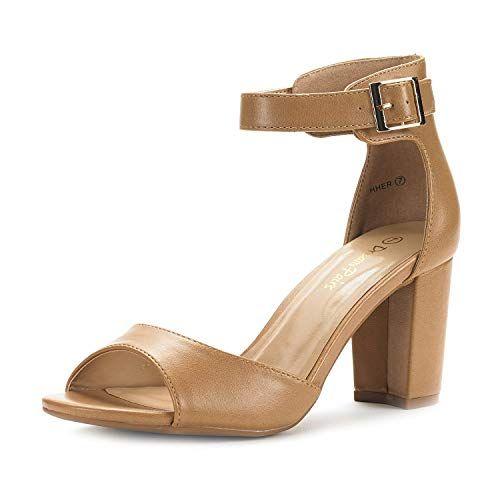 7284040d808 DREAM PAIRS Women s HHER Nude Pu Low Heel Pump Sandals - 8.5 M US ...