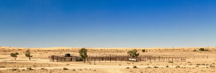 Stockyards and sand dunes along the Old Ghan Railway Track