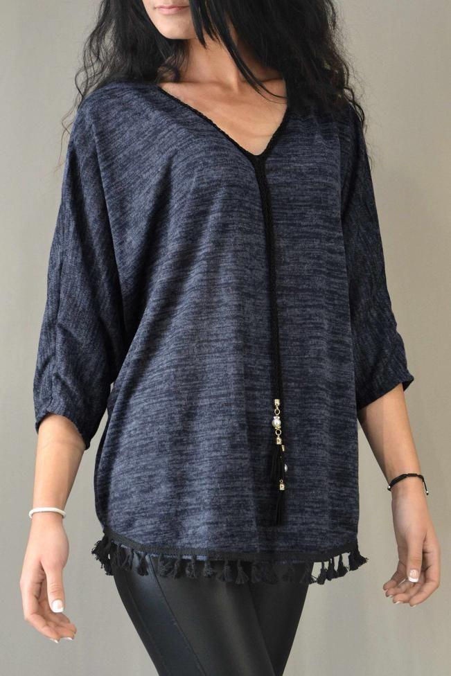 Γυναικεία μπλούζα νυχτερίδα  MPLU-0776-bl  Μπλούζες > Μπλούζες