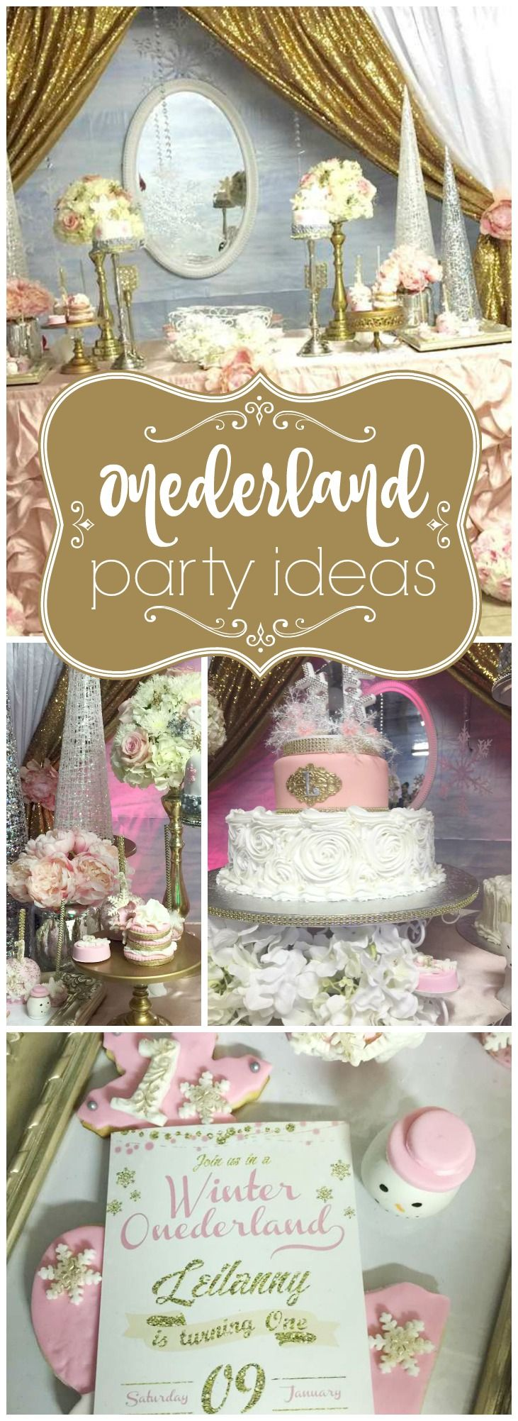 What a pretty winter first birthday in pink, silver, gold and white! See more party ideas at CatchMyParty.com!