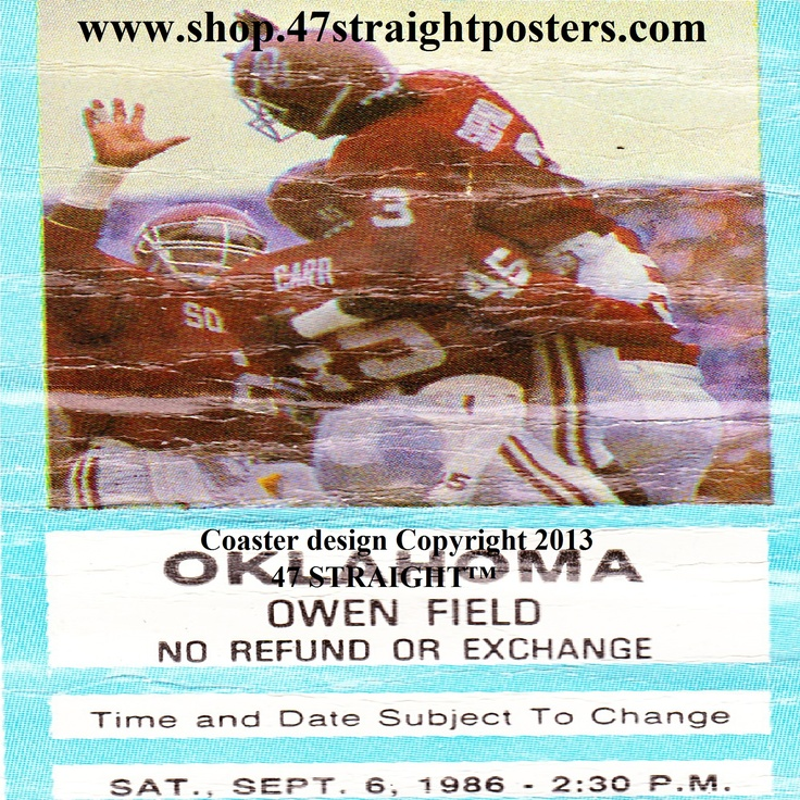 1986 UCLA vs. OU Football Ticket Coasters.™ Father's Day gift ideas under $40. Ceramic drink coasters printed in the U.S.A. made from over 2,000 historic college football tickets. Best Father's Day sports gifts. Unique football gifts for Dad. #47straight #fathersday #fathersdaygifts #collegefootball